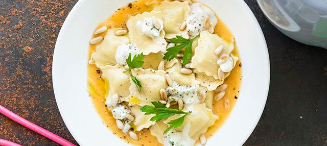 Raviolis de gorgonzola y calabaza